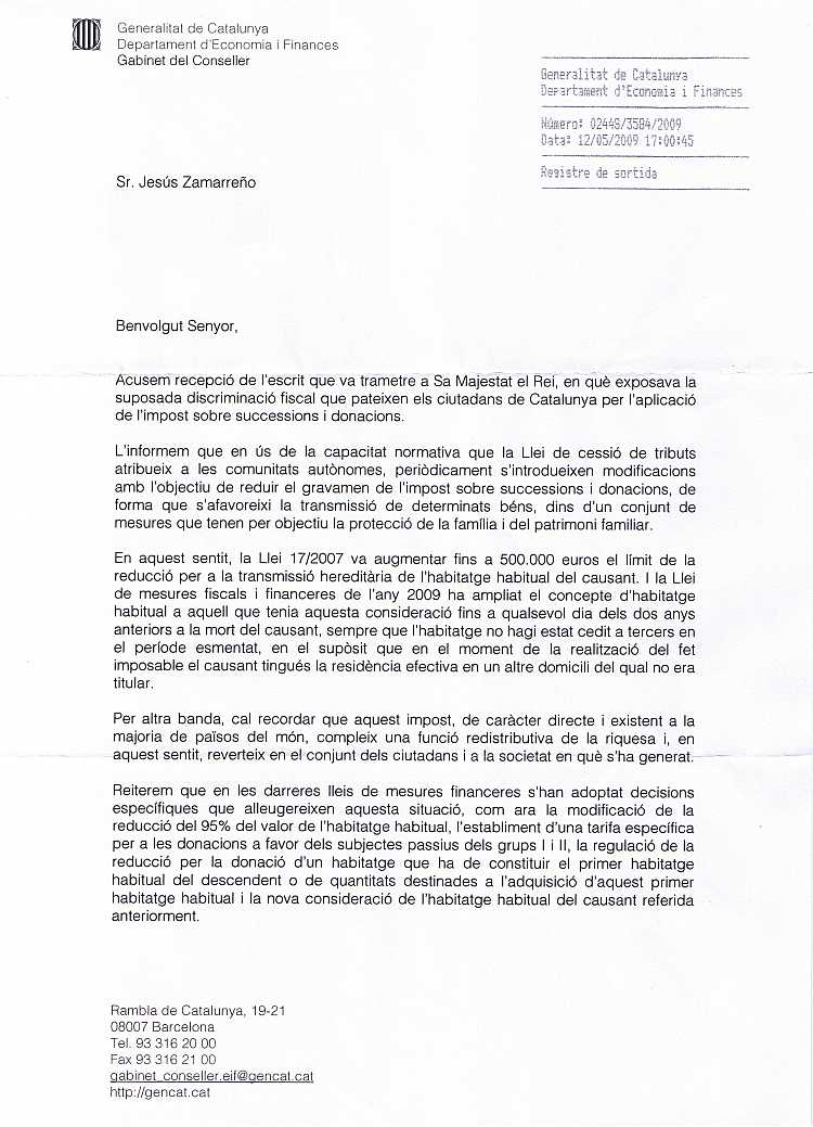 14/05/2009 - Rebuda carta del Departament d'Economia i Finances com a continuació de la Carta al Rei CGC120509-1P