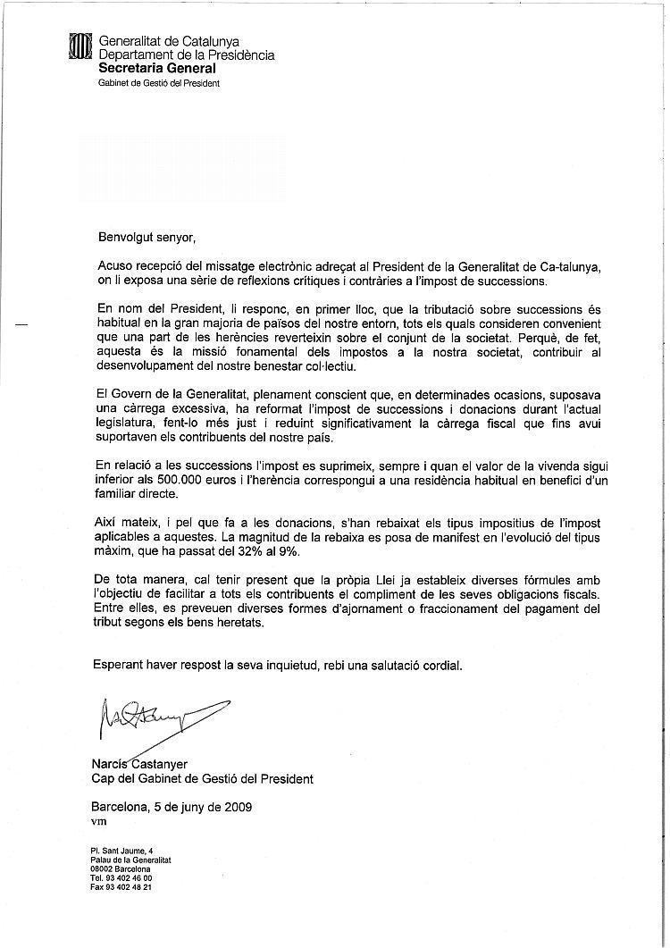 """Resposta del Cap del Gabinet del President Montilla a la tramesa del """"Poema per a un Impost"""" LPP"""