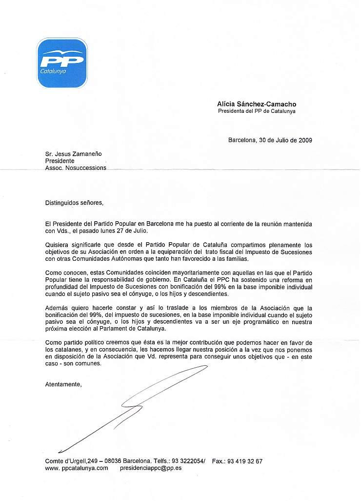 Entrevista amb Antoni Bosch i Carrera, notari i President del Partit Popular de Barcelona i carta de la senyora Alícia Sánchez-Camacho, Presidenta del PP de Catalunya PPp