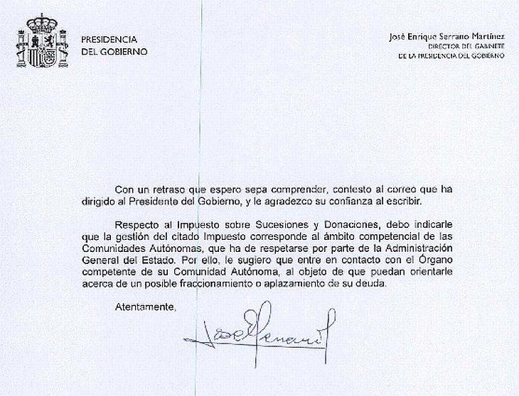 respuesta presidencia del Gobierno PresGobL