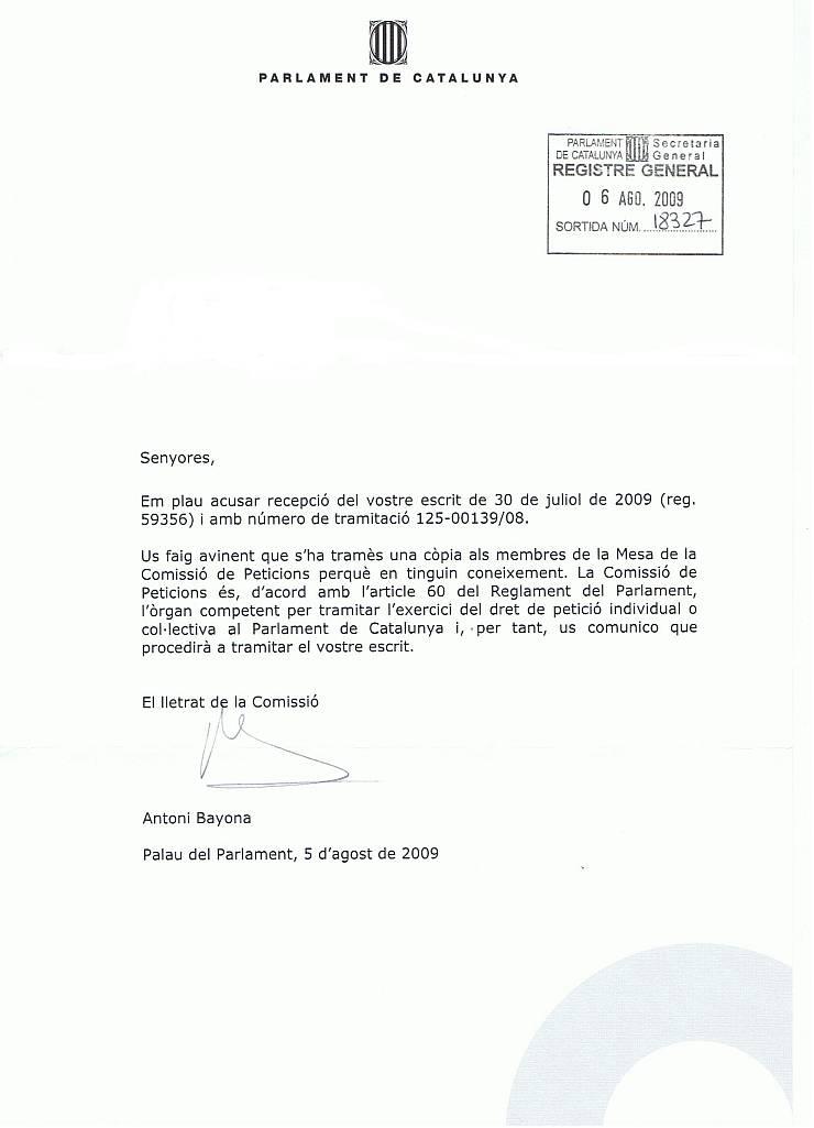 Resposta de la comissió de P. del Parlament Escritp