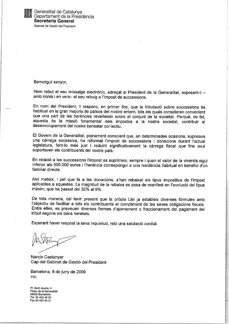 """Resposta del Cap del Gabinet del President Montilla a la tramesa del """"Poema per a un Impost"""" RespostaP"""